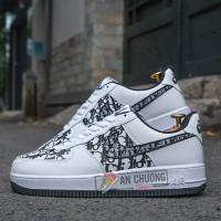 Giày Nike Air Force 1 Low White x Dior Đế Đen