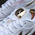 Giày Nike Air Jordan 1 Low White Metallic Gold